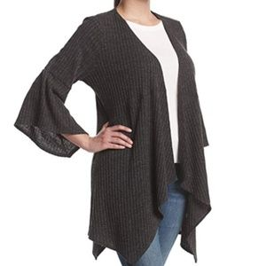 Open Front Cardigan with Wide Sleeves, 2X